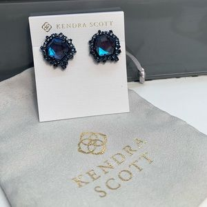 Kendra Scott Navy Gunmtl Dichroic Abelia Earrings